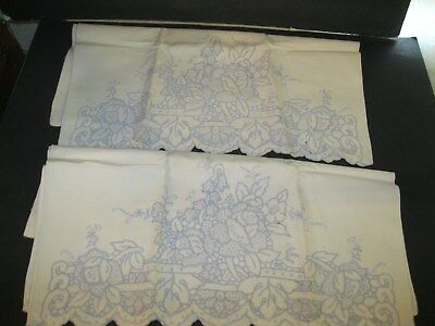 "2 Vtg Embroidered Linen Pillowcases Blue White Madeira Cutwork Floral 32"" x 20"""