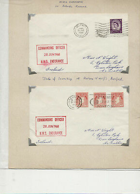 Pair of HMS Endurance cacheted covers from 1968 cancelled Belfast