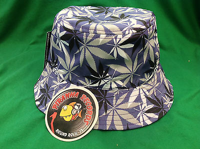 Black White Gray Weed Leaf Printed Purple Full-Brim Bucket Hat ONE SIZE 790b801ac1fa