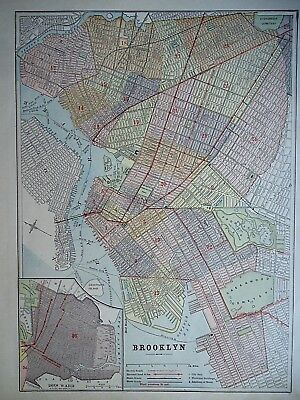 Vintage 1896 BROOKLYN, NY MAP Old Authentic Antique Atlas Map 96/70318