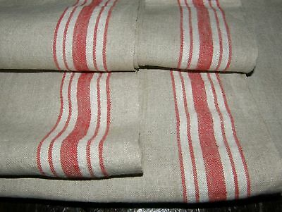 "Lot of 2 Linen Mangle Cloth Tablecloth HK Mono Red Stripes 33"" x 106"" 3.3 Yd M10"