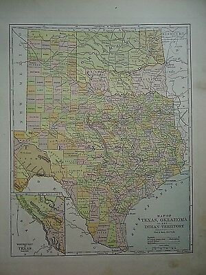 Vintage 1896 TEXAS OKLAHOMA INDIAN TERRITORY MAP Old Authentic Antique Atlas Map