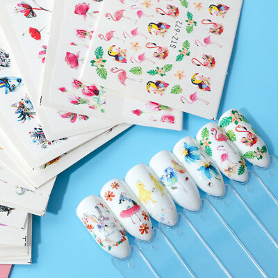 15 Sheets Nail Art Stickers Water Transfer Decals Owl Deer DIY Tips Decoration