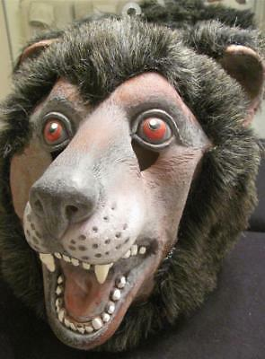 FUZZY BLACK BEAR LATEX-FULL HOODED -ADULT Halloween Costume Mask