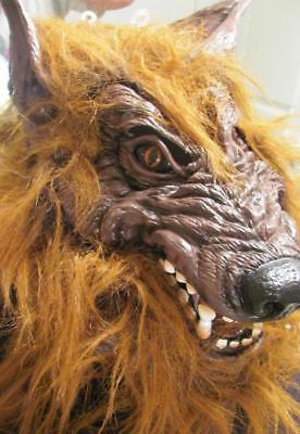 HAIRY LARGE WOLF WOLF-MAN LATEX-FULL HOODED -ADULT Halloween Costume Mask