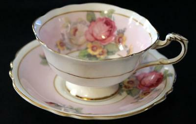 PARAGON BY APPOINTMENT TO HM QUEEN MARY Floral on pink Teacup and saucer