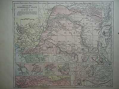 Vintage 1896 CONGO INDEPENDANT STATE MAP Old Authentic Antique Atlas Map 081518