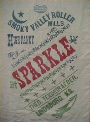 Vintage Flour Sack Sparkle LOGO Smoky Valley Roller Mill Lindsborg KS Dated 1906