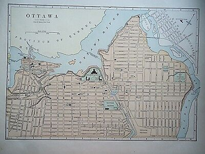 Vintage 1896 OTTAWA, CANADA MAP Old Authentic Antique Atlas Map 081518