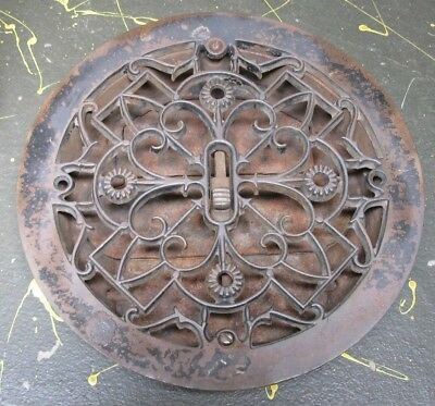 decorative antique 9 in. Round Grate, Cast Iron for floor or wall heating, vent