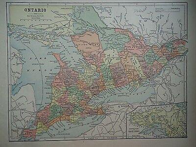 Vintage 1896 ONTARIO, CANADA MAP Old Authentic Antique Atlas Map 081518