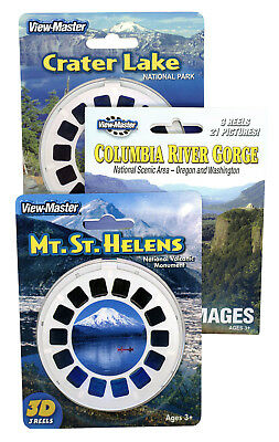 Crater Lake-Columbia River-Mt.St Helens - Triple NEW ViewMaster Set -9 Reels