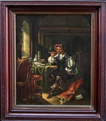 Soldier Smoking Pipe in Room 19th Century Antique Oil Painting NO RESERVE