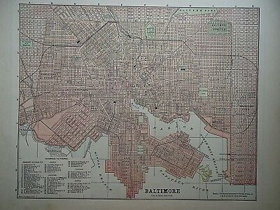 Vintage 1896 BALTIMORE, MARYLAND MAP Old Authentic Antique Atlas Map 081518