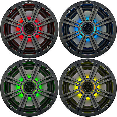"Kicker LED Charcoal OEM Replacement Marine 6.5"" 4Ω Coaxial Speaker Bundle - 4x"