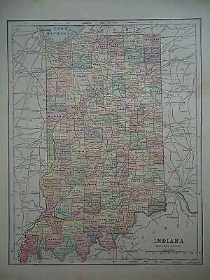 Vintage 1896 INDIANA MAP Old Authentic Antique Atlas Map 081518