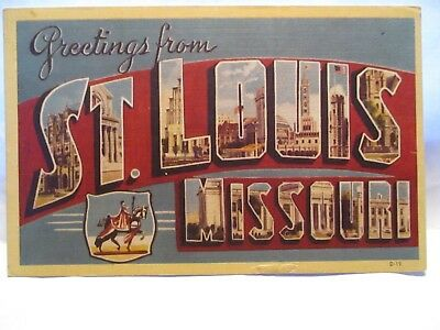 """1946 Large Letter Postcard Greetings From St Louis Missouri """" W/ Sites"""