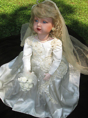 Vintage STORE DISPLAY Table MANNEQUIN Countertop BRIDE DOLL ONE OF A KIND ORNATE