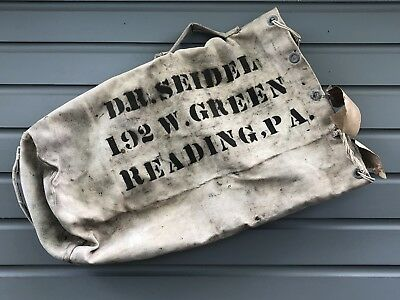 Vintage WWII 1940's U.S.N. Military U.S. Navy Sea Bag U.S.S. Midway Reading, PA.