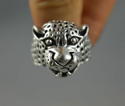 China Style Decorate Old Miao Silver Carve Fierce Leopard Head Amulet Ring Gift