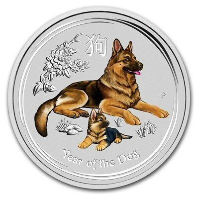 2018 ~ 2~OZ. .9999 SILVER ~ LUNAR  YEAR of the DOG ~ PERTH MINT ~ COLOR ~ $68.88
