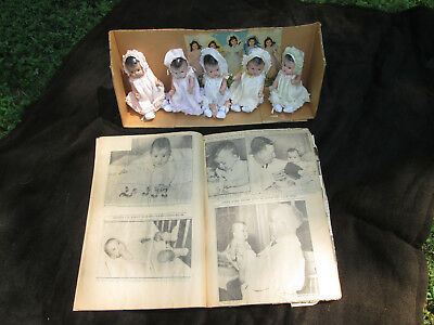 """1930s UNMARKED 5 DIONNE QUINTUPLETS 7"""" DOLLS COMPO BODY & ORIG SCRAP BOOK"""