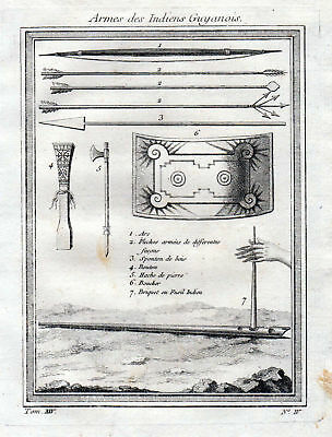 ca. 1750 Guyana Indian Natives America weapon Waffen Kupferstich antique print
