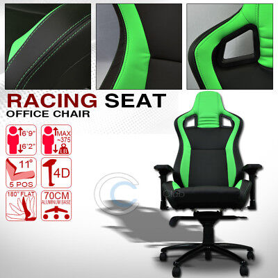 Mu Racing Style Pvc Leather Bucket Reclinable Seat Chair Blk/green Stitches C35