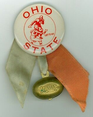 Vintage 1940s-50s Ohio State University Football Booster Pinback Button w/Ball
