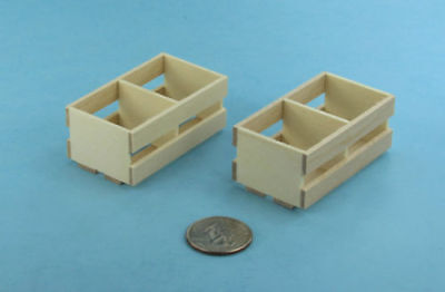 Pair of 2 Dollhouse Miniature Wood Crates for Fruits & Vegetables #SD1642