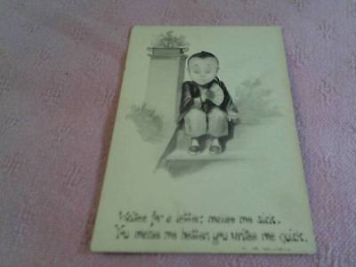 Chinese American History Offensive Postcard Pre 1930 Signed Kemble , Unposted