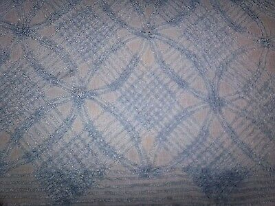 chic cottage vtg CHENILLE BEDSPREAD SOFT BLUE  queen/king use or re-purpose