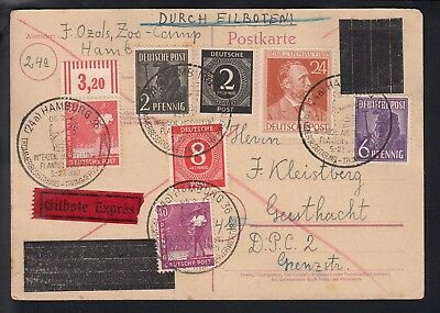 GERMANY 1947 Postal card, blocked-out Hitler head, Displaced Person Camp