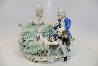 Vintage  Dresden Porcelain Lace Figurine, Playing Chess  #2