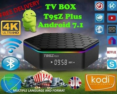 T95Z Plus Octa Core Amlogic S912 2GB+16GB Android 7.1 TV Box 5Ghz WI-FI UK