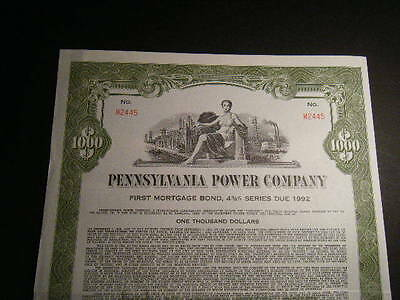 HUGE $1000 Pennsylvania Power Company 1962 30-Year 4 3/8% Bearer Bond HUGE