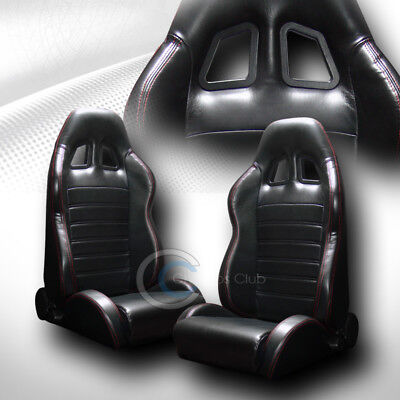 2X Sp Sport Blk Pvc Leather Red Stitch Reclinable Racing Bucket Seats+Slider C50