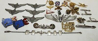 Vtg Military WWll USAAF Sub Bombardier Wings STERLING SILVER Bracelet Pin Lot