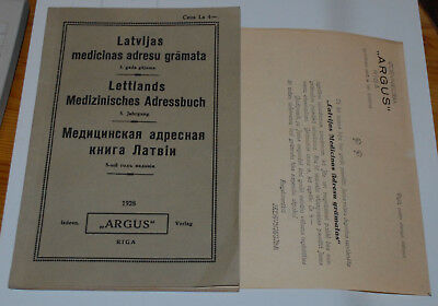LATVIA MEDICAL ADDRESSES BOOK 5th YEAR EDITION 1928 ARGUS LATVIAN GERMAN RUSSIAN