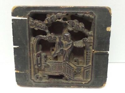 Antique Chinese Carved Wood Garden Scene Insert Section