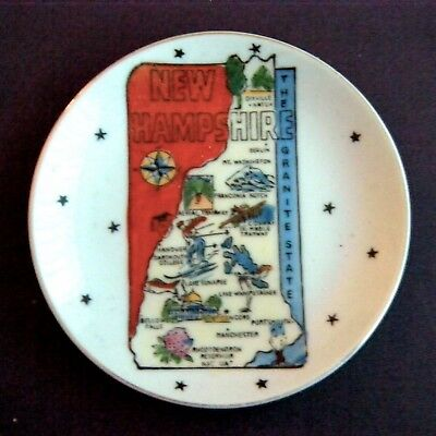 New HampshireTrinket Dish Hand Painted Map With Tourist Sites in NH, GNCO Japan