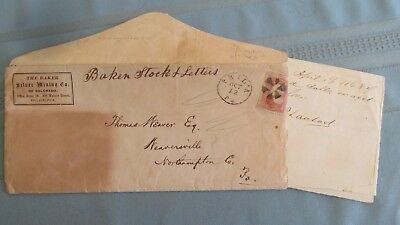 1868 Bakerville Colorado Baker Silver Mining Company Cover & Stock Letters-Mines