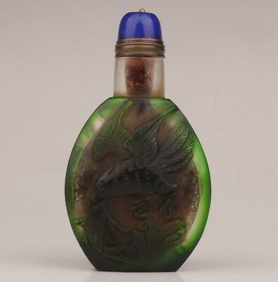 Chinese 100% Coloured Glaze Snuff Bottle Double-Sided Hand Seagull Fish Old+Box
