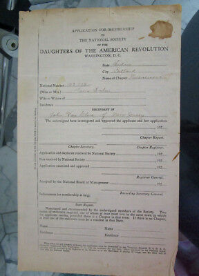 Vintage 1896 DAR Daughters of the American Revolution Application for Membership