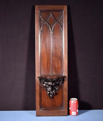 "*32"" French Antique Gothic Panel in Deeply Carved Walnut Wood w/Shelf/Corbel"