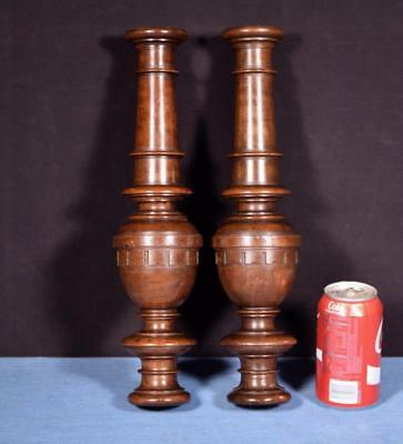 "*15"" Pair of French Antique Solid Walnut Posts/Pillars/Columns/Balusters"