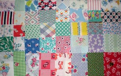 "LOT 40 Pcs Vtg FEEDSACK  Quilt Sewing Doll Clothes 4"" x 4"" ALL DIFFERENT Prints"