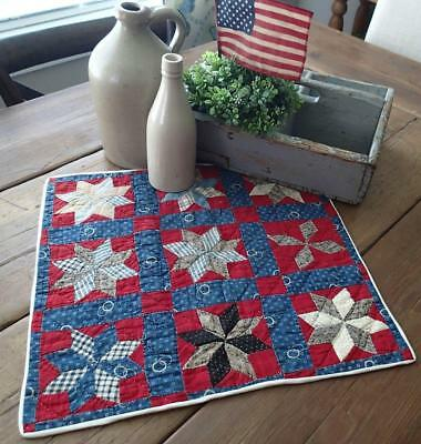 Patriotic Americana! Antique 1880s Red White & Blue Star Table Doll Quilt 17x17