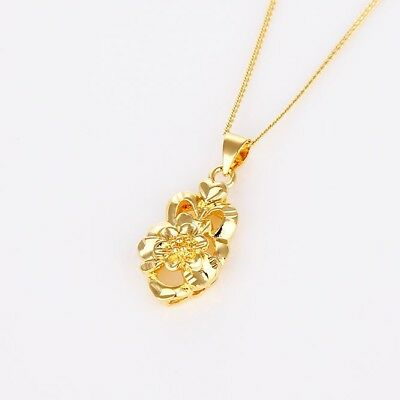 """Women's Flower Pendant Necklace 18k Yellow Gold Filled 18""""Link Fashion Gift"""