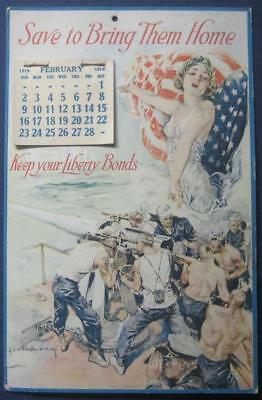 1918 1919 Wwi Liberty Bonds Patriotic Calendar Howard Chandler Christy Art
